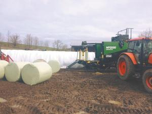 Silage Baler Wraps Chopped Crops in Plastic